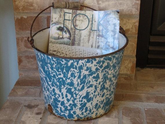 Vintage Blue Swirl Granite Enamelware Bucket
