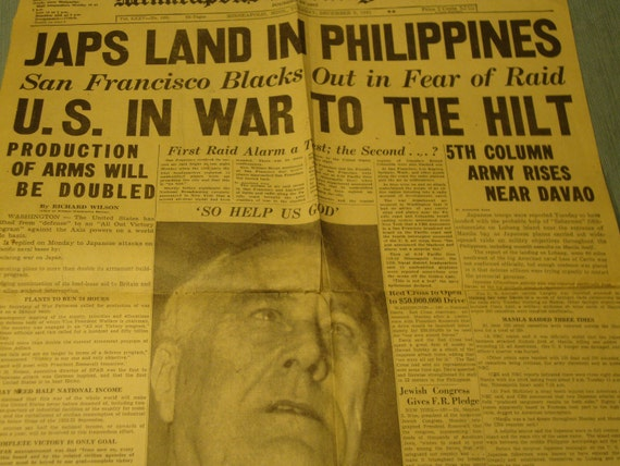 Remembering Pearl Harbor Sale Vintage Scrapbook with War Headline paper Dec 9 1941 and other paper