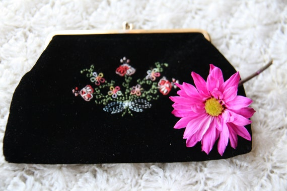 Small Vintage Black Velvet Embroidered Clutch