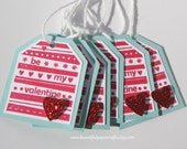 Valentine Gift Tags Heart Favor Tag / Treat Tags- (Set of 6)