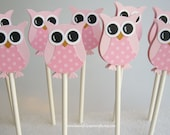 Pretty in Pink Owl Cupcake Toppers- Owl Baby Shower Decorations..set of 12