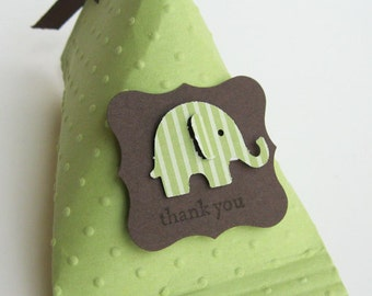 Green and Brown Elephant Baby Shower Favors - Birthday Party Favors..set of 12