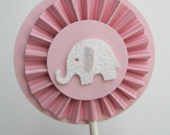 Pretty in Pink Elephant Cupcake Toppers- Elephant Baby Shower Decorations Rosettes..Set of 12