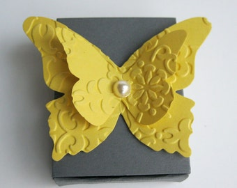 Gray and Yellow Wedding Matchbox Favor boxes-Wedding Table Decorations - Bridal Showers - Custom Wedding Favors - Made To Order