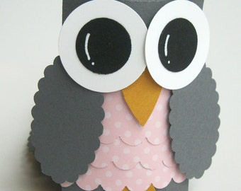 Gray and Pink Owl Favor Boxes- Baby Shower Decorations -  Owl Birthday Party--Set of 12