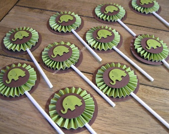 Green and Brown Elephant Cupcake Toppers- Elephant Baby Shower Decorations..Set of 12