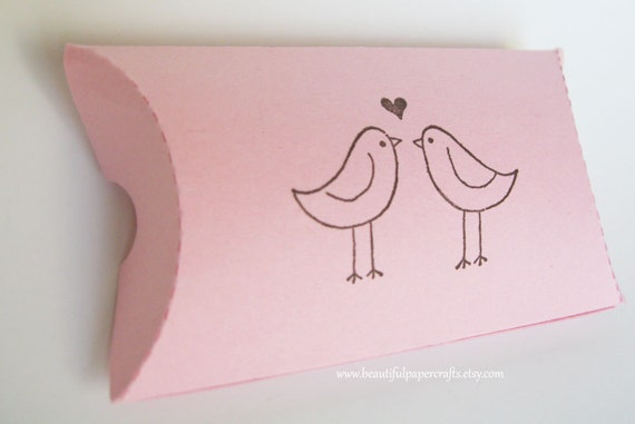 Pink Love Birds Pillow Favor Boxes- Wedding Table Decorations -Made To Order