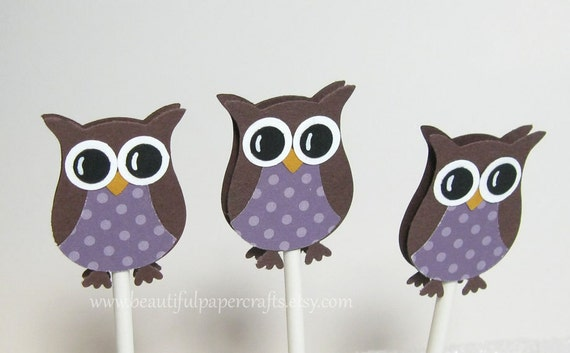similar to purple owl cupcake toppers owl baby shower decorations