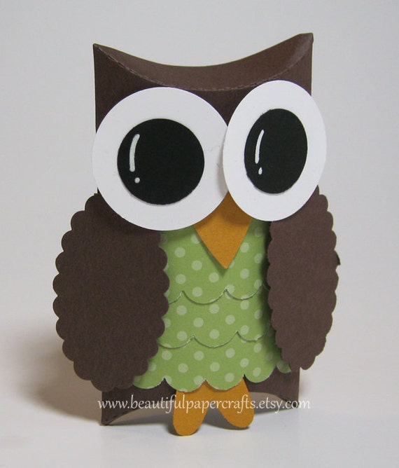Brown and Green Owl Favor Boxes-  Owl Baby Shower Decorations -  Owl Birthday Party...Set of 12