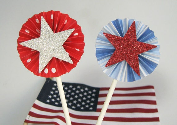 4th of July Cupcake Toppers - Red, White and Blue - Fourth of July Decorations