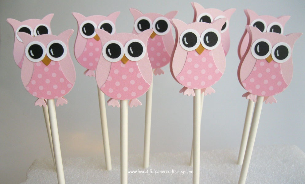 Pretty in pink owl cupcake toppers owl baby shower for Baby shower owl decoration ideas