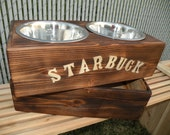 Custom elevated dog dish with storage compartment