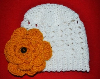 Mustard Flower Puff Stitch Beanie