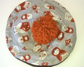 Pom Pom Slouch Hat with Orange Matryoshka Dolls and Mushrooms made from 1960's Pattern