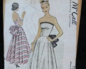 Vintage Pattern 1940s Bustle Evening Gown Strapless McCalls 7206