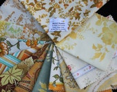 Vintage Fabric Bundle Remnant Swatch Mustard Madness Lot of 12