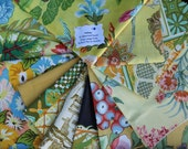 Vintage Fabric Bundle Remnant Swatch Yellows Lot of 12