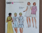1970's Vintage Butterick Pattern 3040 Misses Dress and Cardigan Size 12