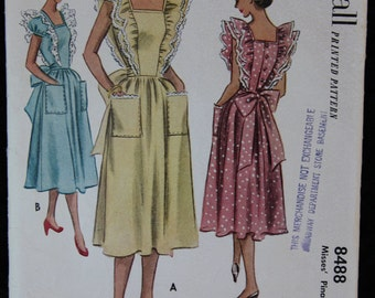 Vintage Misses 1951 Apron Pinafore Dress Pattern McCalls 8488