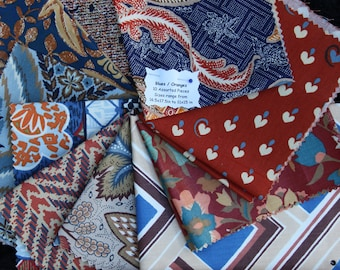 Vintage Fabrics Bundle Remnant Swatch Blues and Oranges Lot of 10