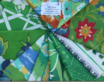 Vintage Fabric Bundle Remnant Swatch Kelly Green Lot of 10