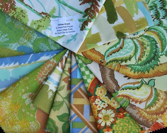 Vintage Fabric Bundle Remnant Swatch Yellows and Greens Lot of 11