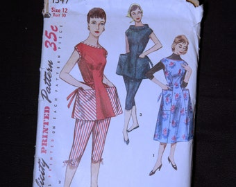 1955 Simplicity 1347 Apron Sewing Pattern Vintage Retro Full or Half Cobbler