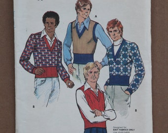 Retro 1970's Vintage Butterick Pattern 3219 Mens Sweater Size 36