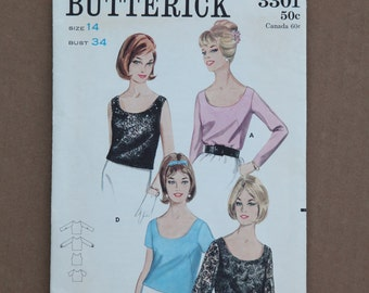 1960's Vintage Butterick Pattern 3301 Misses Set of Scooped Necline Blouses  Size 14
