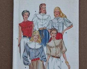 Misses Butterick Ruffle Blouse Pattern 3710 Sizes 12 1980s