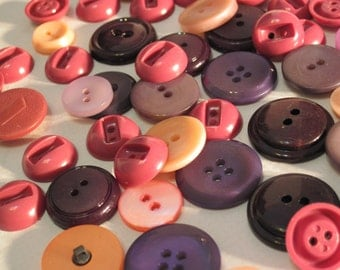 Vintage Grab Bag of 50 Purple, Pink and Peach Buttons P4 with Free Gift Bonus Bag