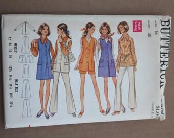 1970's Vintage Butterick Pattern 5680 Misses Half Size Jumper, Blouse and Pants Size 16 Bust 38