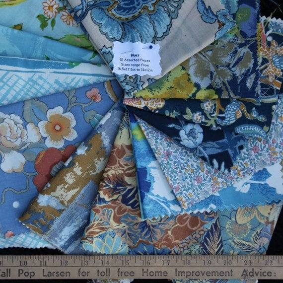 Vintage Fabrics Bundle Remnant Swatch Blues Lot of 12