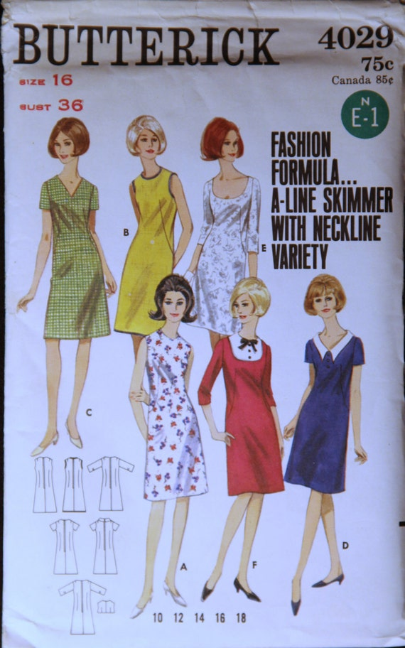 1960's Vintage Butterick Pattern 4029 Misses A Line Skimmer with Neckline Variety Size 16