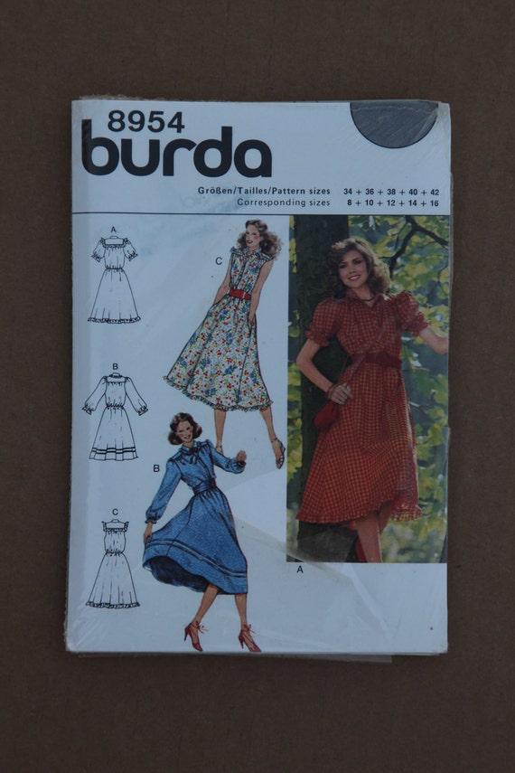 Misses Retro Burda Dress Pattern 8954 Sizes 8-16 1980s