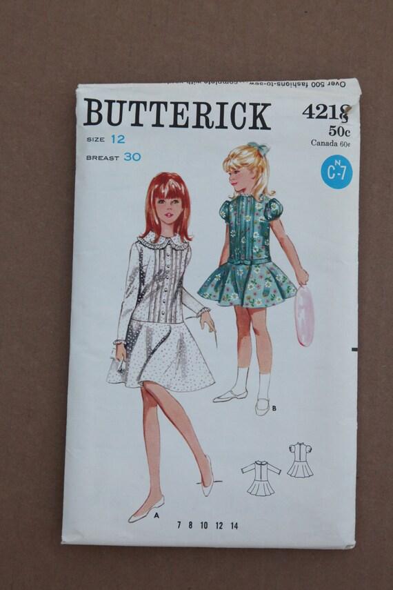1960's Vintage Butterick Pattern 4218 Girls One Piece Dress Circular Skirt Size 12