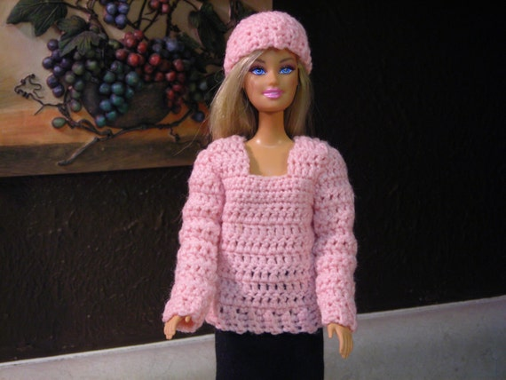 Pink Doll Winter Sweater and Hat