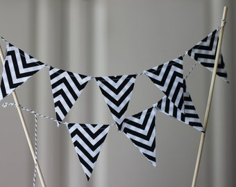 Black and White Chevron Cake Bunting, Fabric Banner, Birthday Decoration, Party Decor