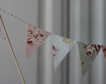 Cake Bunting, Cake Topper,  Fabric Banner, Birthday Decoration, Party Decor