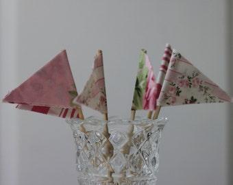 Cupcake Topper, Cupcake Flags, Fabric Cupcake Flags, Reusable, Custom