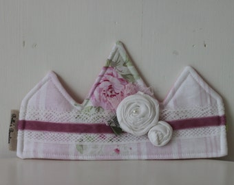 Shabby Chic Headband, Fabric Crown, Photo Prop, Princess Birthday Hat
