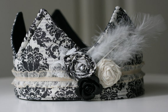 Fabric Crown, French, Sparkly Black Damask, Princess Birthday Hat, Photo Prop