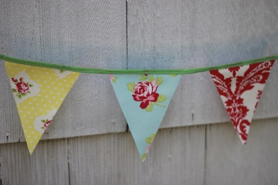 Bunting Banner, Shabby Chic Fabric Banner, Room, Party or Yard Decor