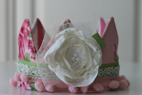 Princess Birthday Hat, Boutique Style Fabric Crown, Shabby Chic Photo Prop