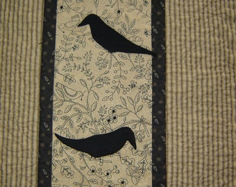 Black Birds in the Garden  Wall Art Quilt Style