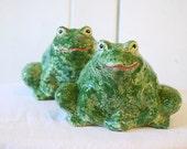 SALE - Vintage mid century ceramic garden frogs, home decor garden toads, 1944, wedding present, frog pottery, good luck toads