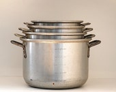 Metal Pots, Vintage Aluminum Cookware, Made in The USA,  VINTAGE Cooking Pots, Mothers Day Gift,  Chef Gift,  Lot of Pots