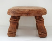 Vintage Rustic Wooden Stool, Lake House Home Decor, Rustic Shabby Chic, Hand Carved Mini Stool