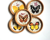 VIntage Drink Coasters, Butterfly Home Decor, Serving Supplies For Diner Party, Springtime Housewarming Gift, Butterfly