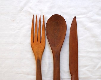 vintage rustic wooden serving set, knife, fork, spoon, hand carved, wooded, home decor, silverware